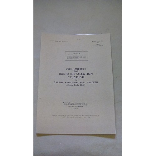 USER HANDBOOK C13/C42/C42 IN CARRIER PERSONNEL FULL TRACKED